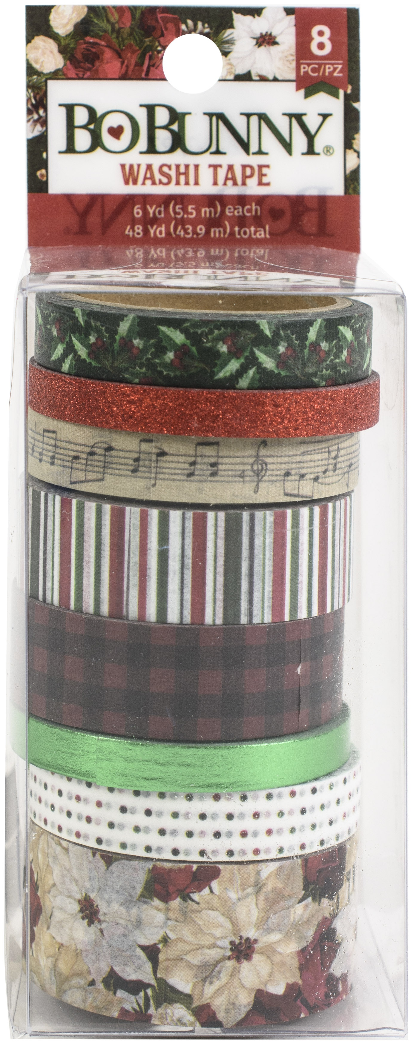 BoBunny Washi Tape 8/Pkg-Joyful Christmas