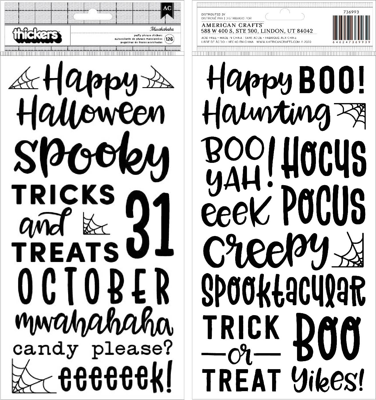 Spoooky Thickers Stickers 5.5X11 126/Pkg-Phrase/Puffy