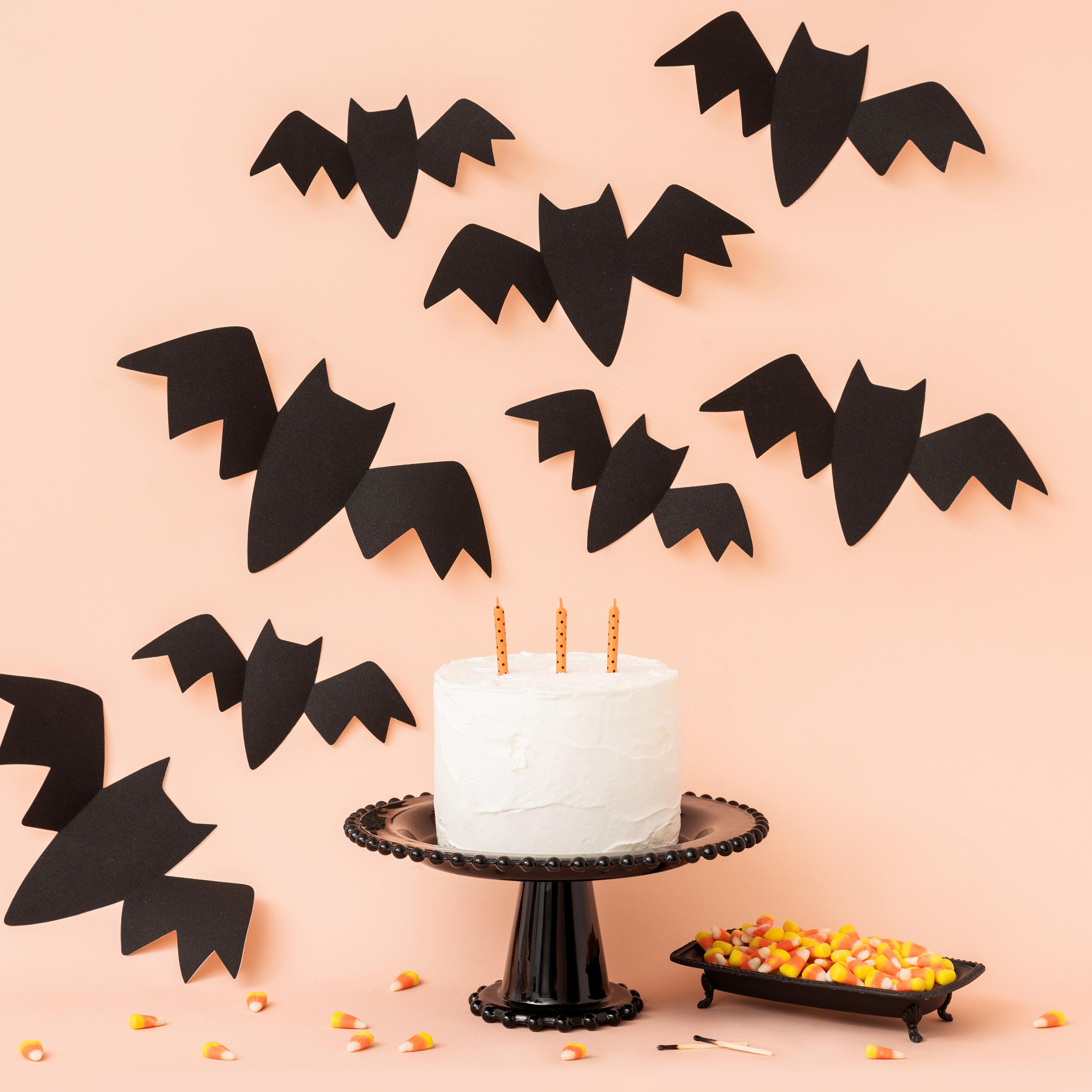 Spoooky Adhesive Cardstock Wall Bats 9/Pkg-Black Glitter