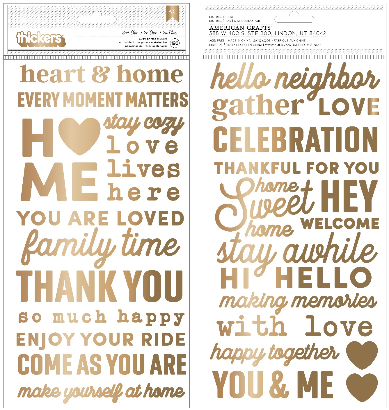 Jen Hadfield The Avenue Thickers Stickers 5.5X11 196/Pkg-Phrase/Puffy