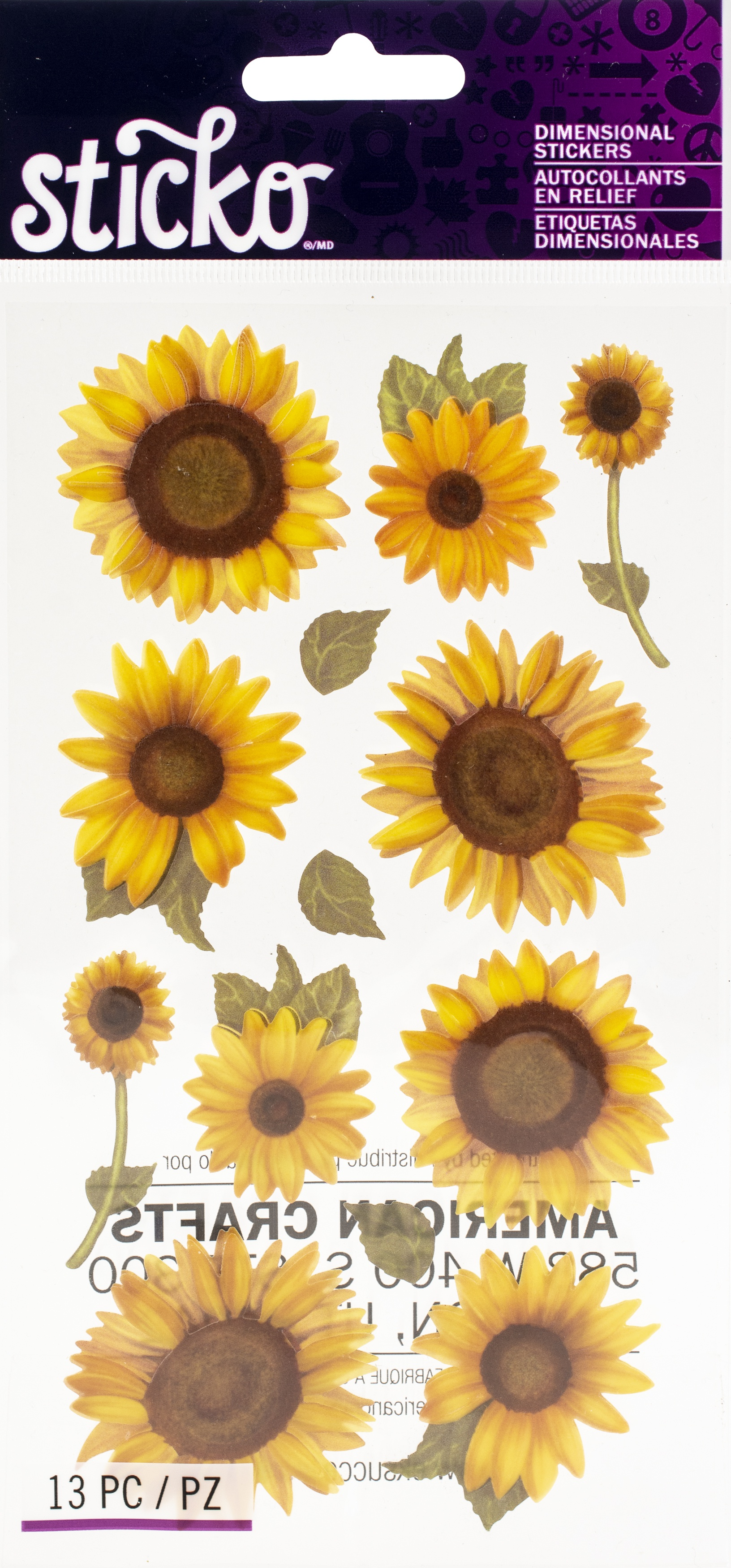 Sticko Dimensional Stickers-Sunflowers