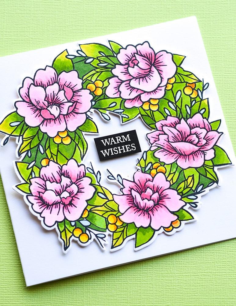 Stamp & Die Set Peony Garden Wreath