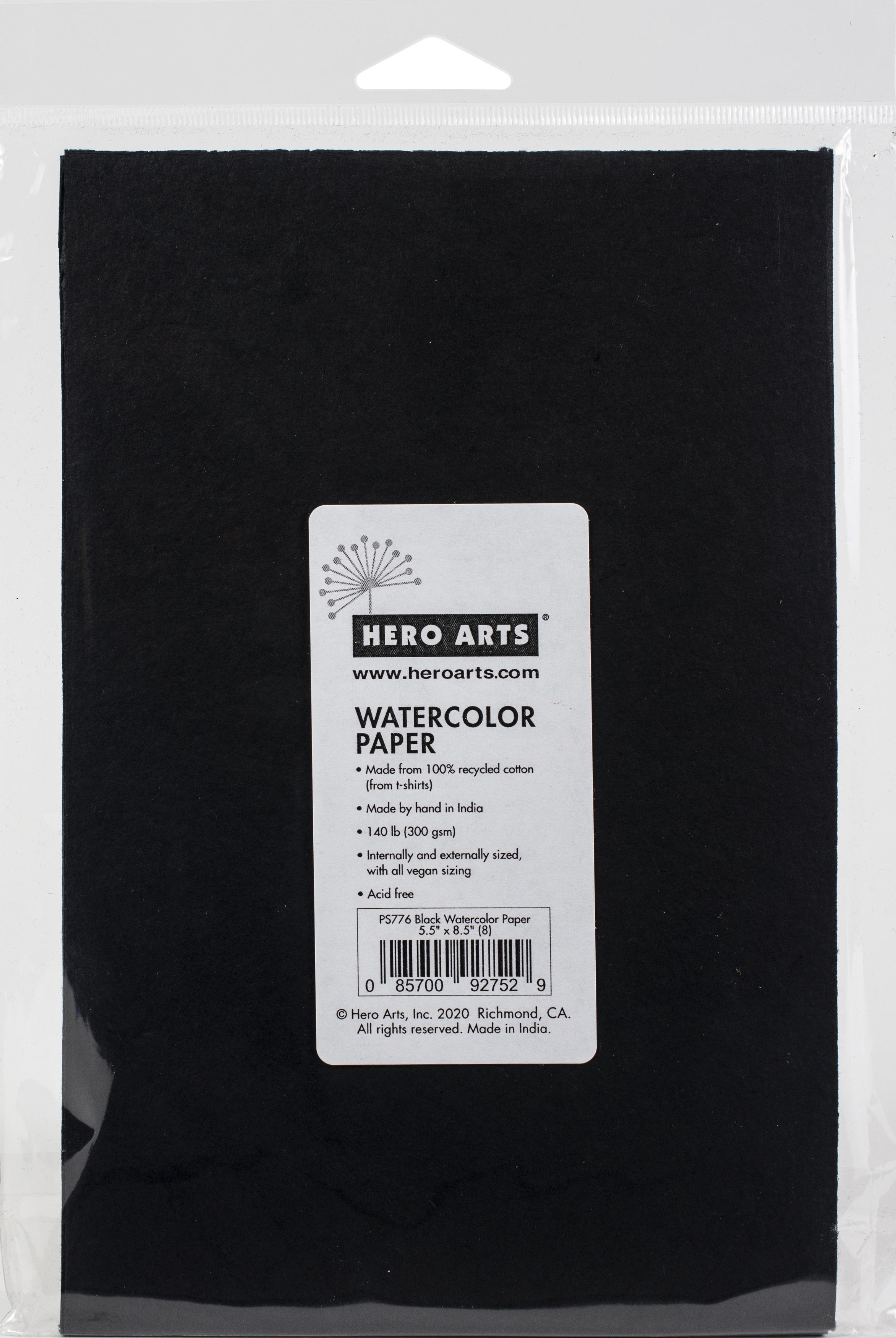 Hero Arts - Watercolor Paper, Black, 5.5 x 8.5, 8/Pkg