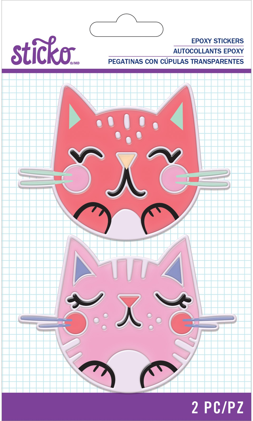 Sticko Raised Channel Epoxy Stickers-Doodle Cat Faces
