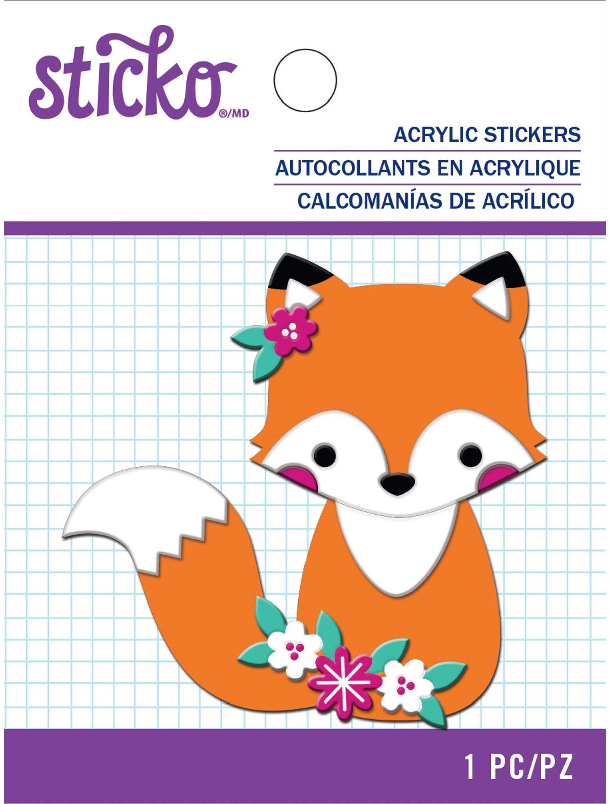 Sticko Acrlic Sticker-Fox & Flowers