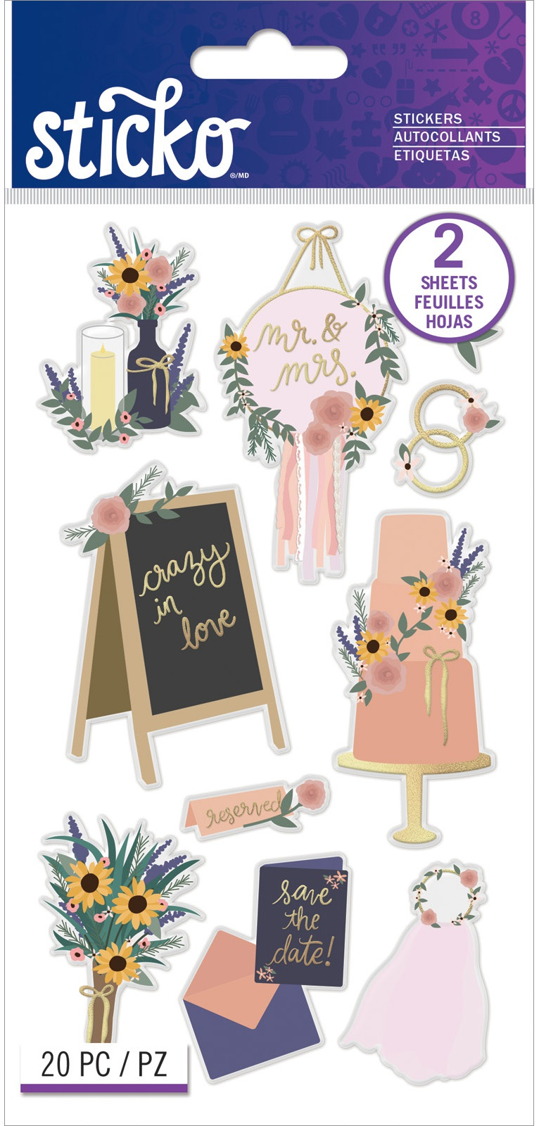 Sticko Flat Stickers-Boho Wedding, 20/Pkg