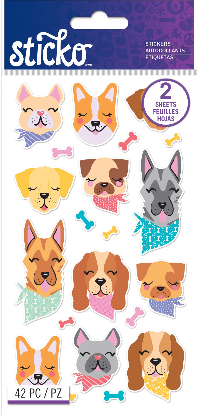 Sticko Flat Stickers-Dog Bandana, 42/Pkg
