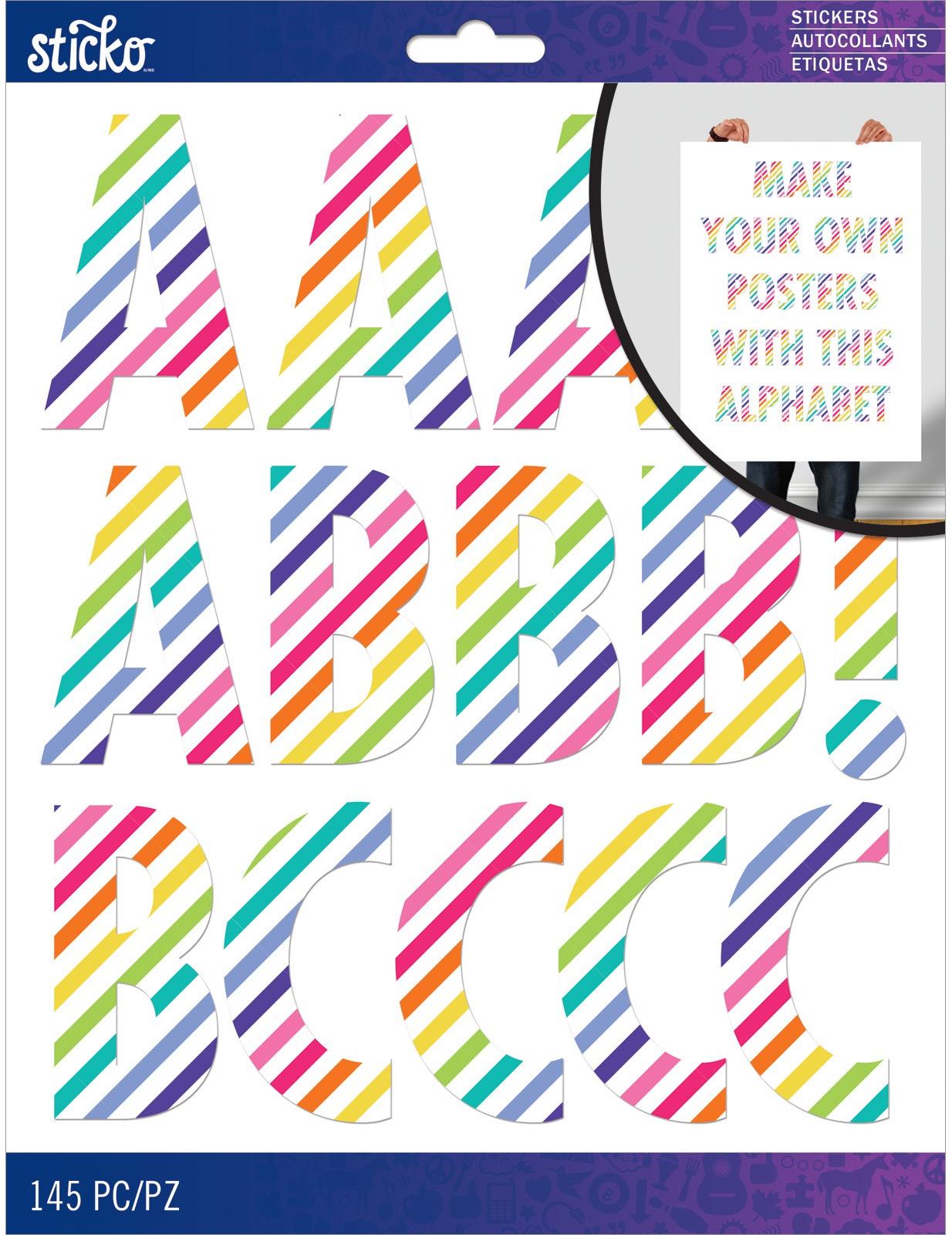 Sticko XL Alphabet Stickers-Rainbow Stripe Futura