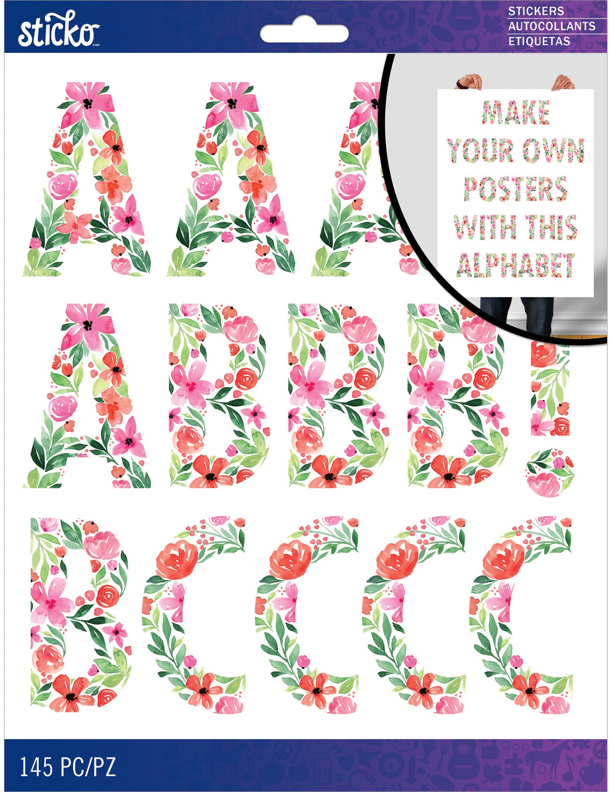 Sticko XL Alphabet Stickers-Painted Floral Futura