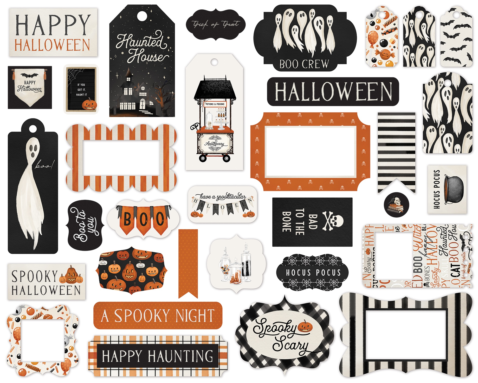 Carta Bella Cardstock Ephemera 33/Pkg-Frames & Tags, Halloween Market