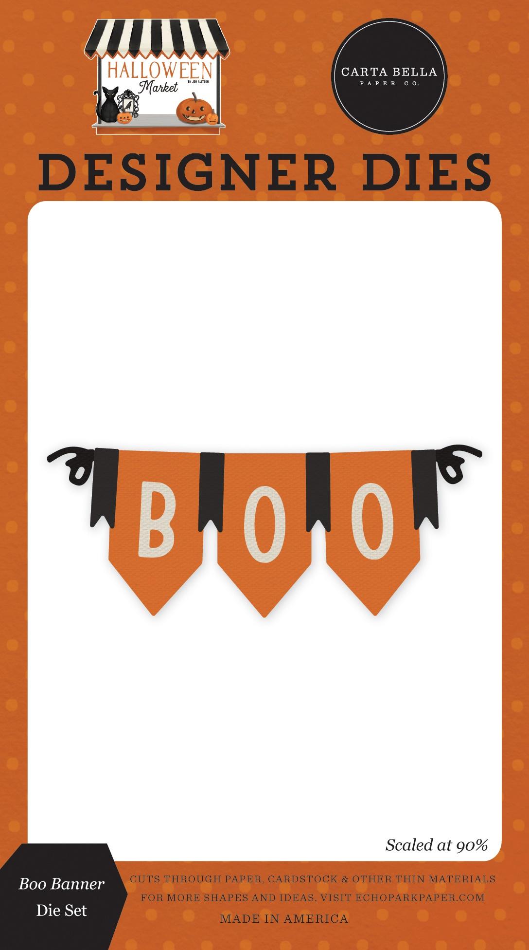 Carte Bella Dies-Boo Banner, Halloween Market