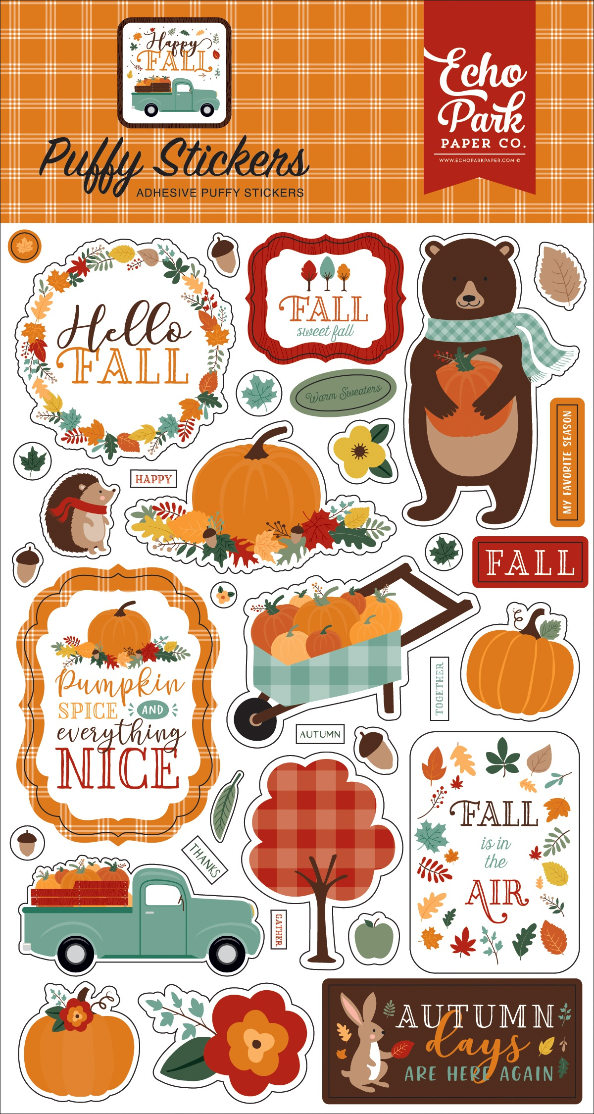 Happy Fall Puffy Stickers-