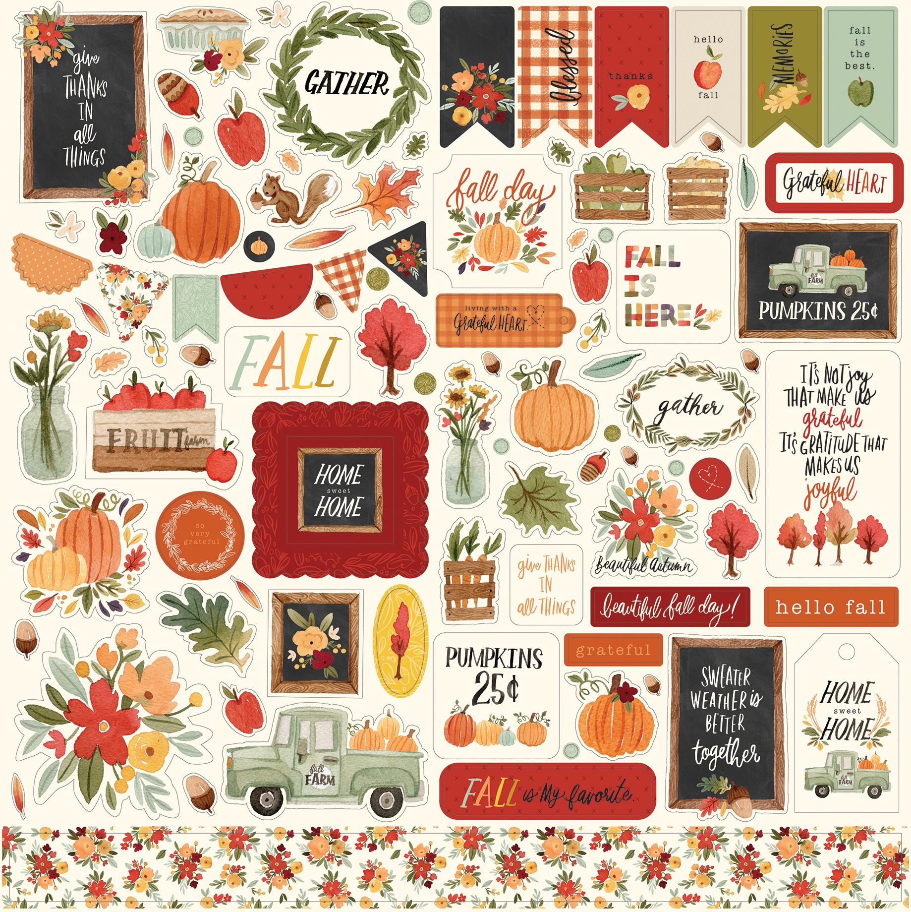 Hello Autumn Cardstock Stickers 12X12-Elements