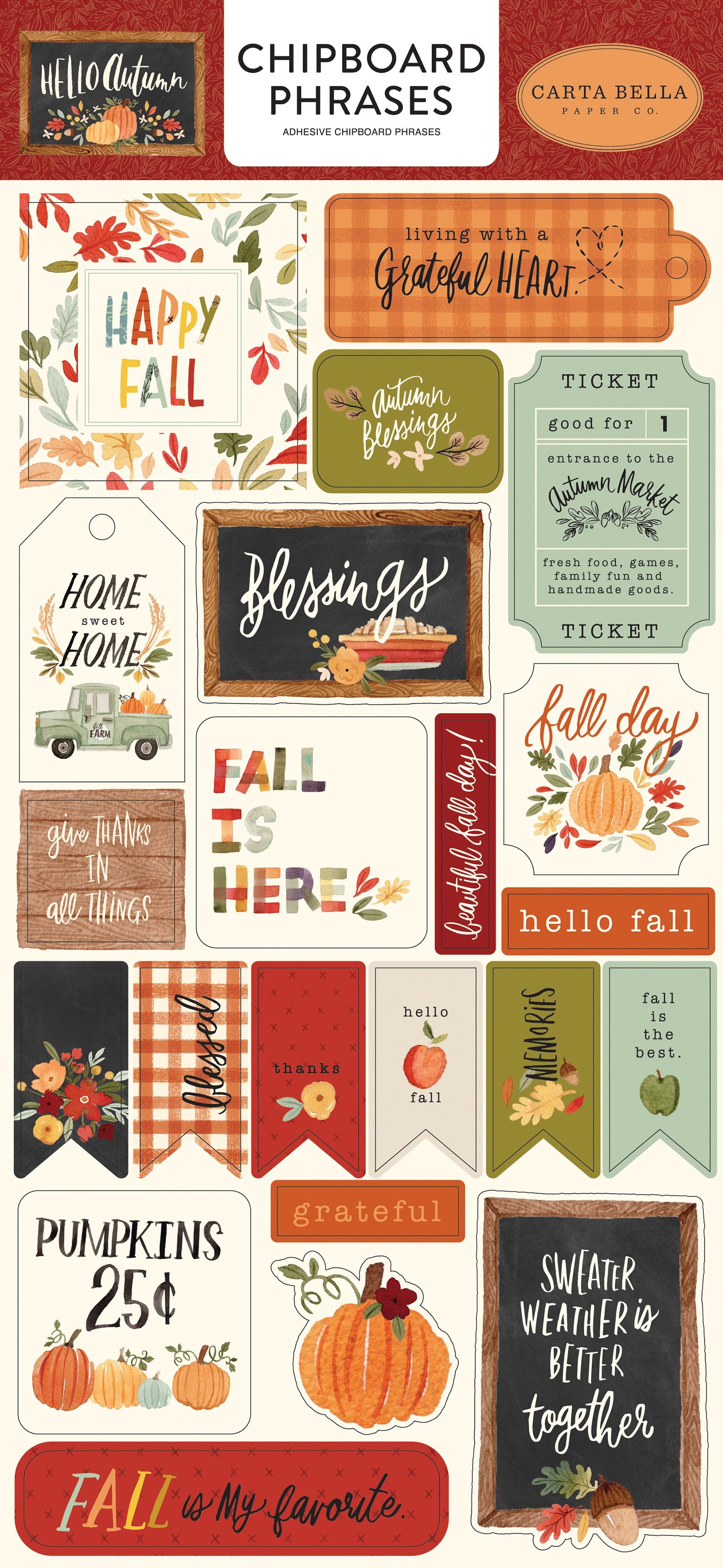 Hello Autumn Chipboard 6X13-Phrases