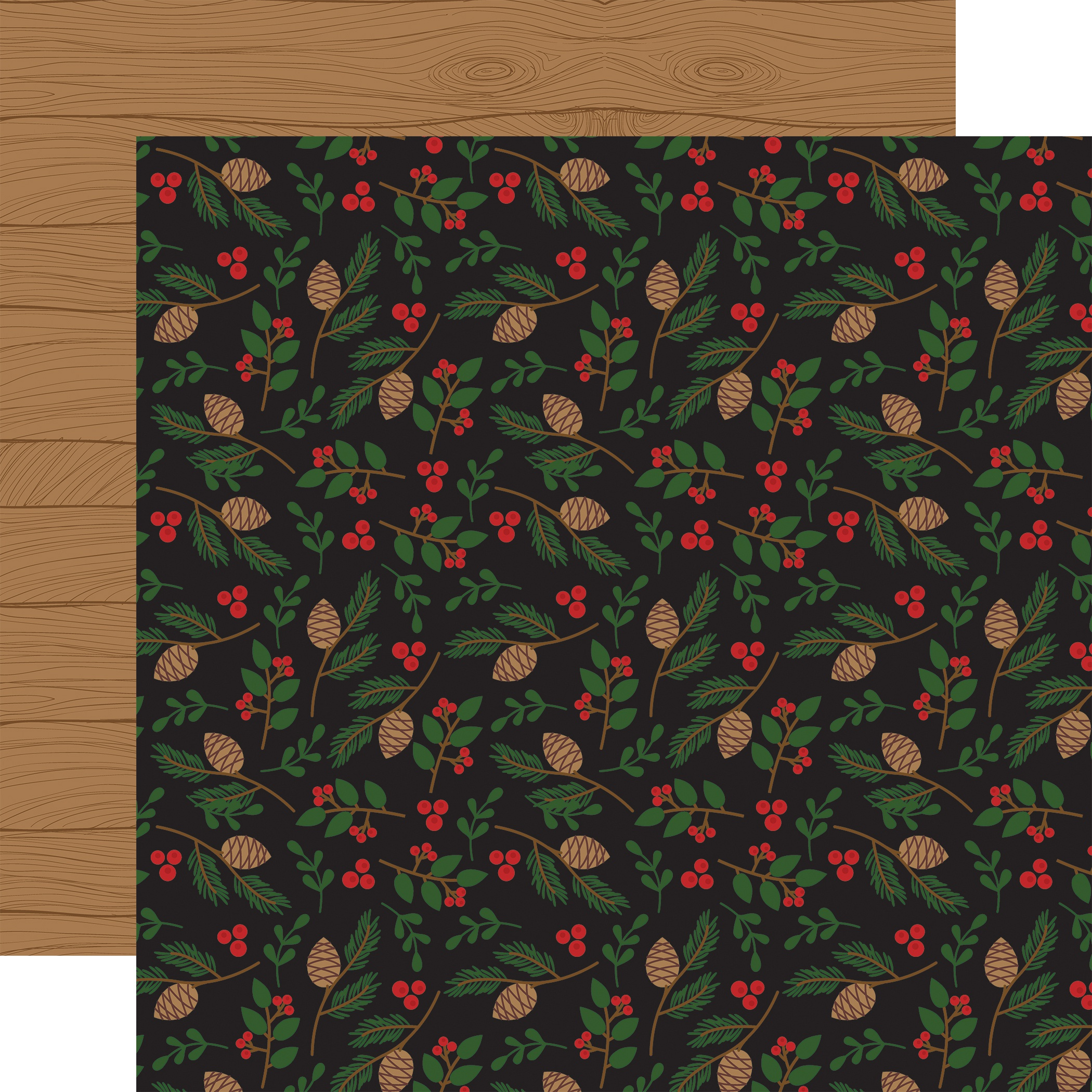 A Lumberjack Christmas Double-Sided Cardstock 12X12-Pinecone & Leaves