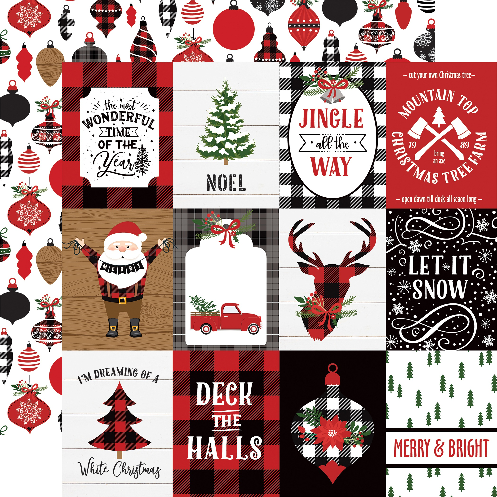 A Lumberjack Christmas Double-Sided Cardstock 12X12-3X4 Journaling Cards
