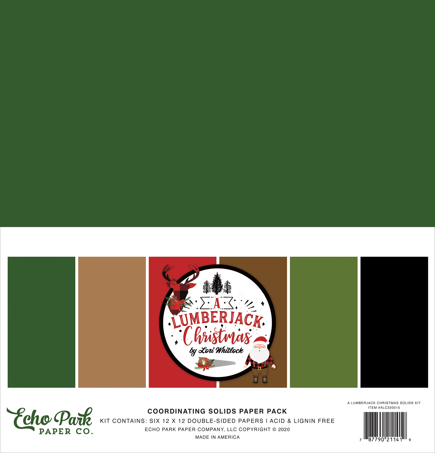 Echo Park A Lumberjack Christmas - 12x12 Coordinating Solids Paper Pack