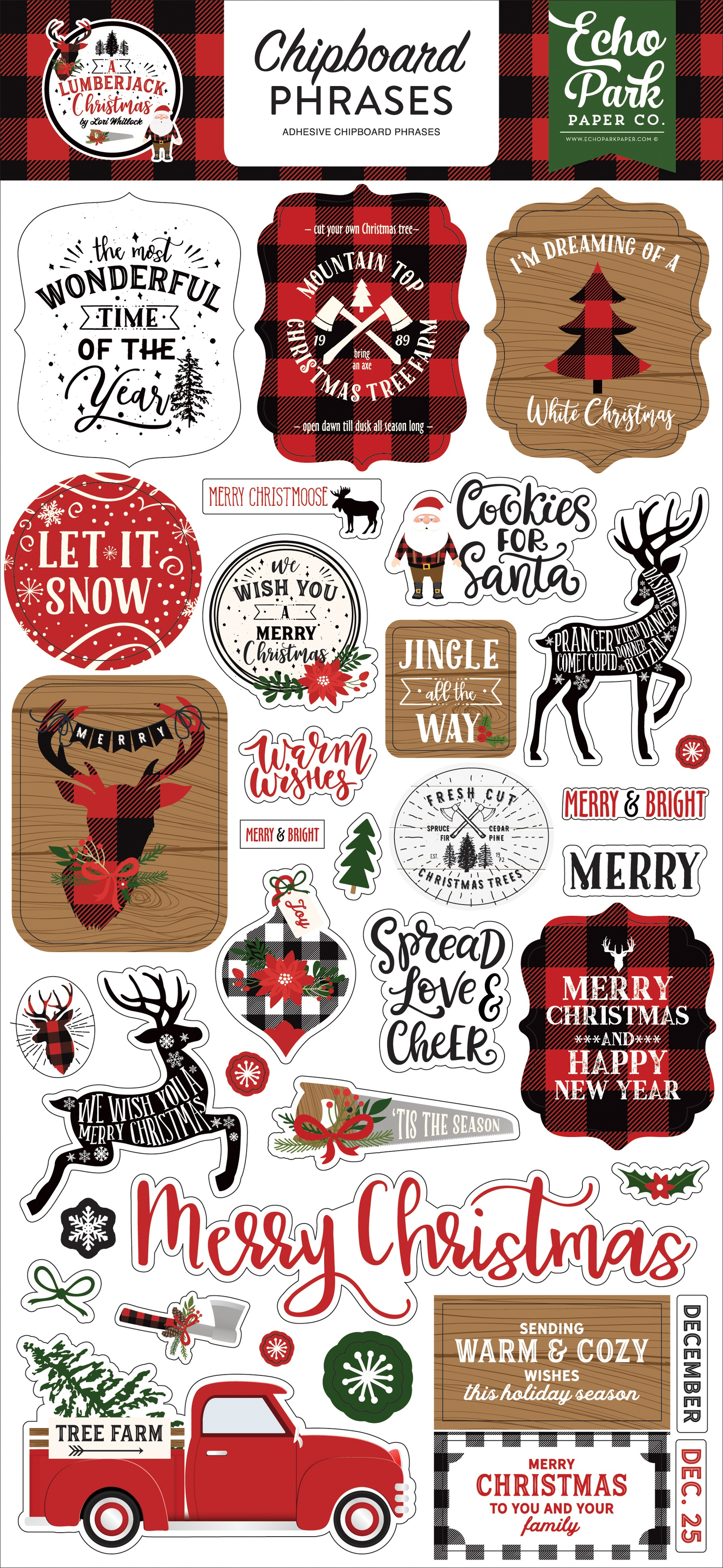 A Lumberjack Christmas Chipboard 6X13-Phrases