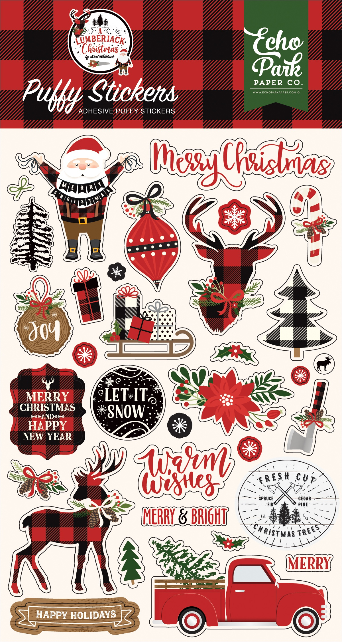 A Lumberjack Christmas Puffy Stickers-