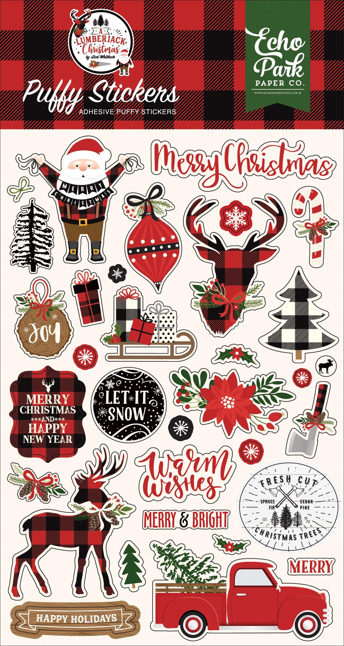A Lumberjack Christmas Puffy Stickers-