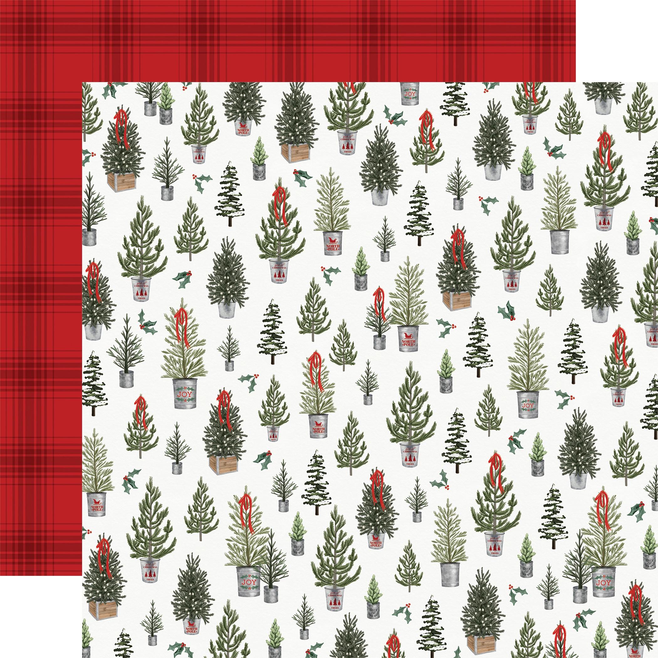 Farmhouse Christmas Double-Sided Cardstock 12X12-Tree Farm