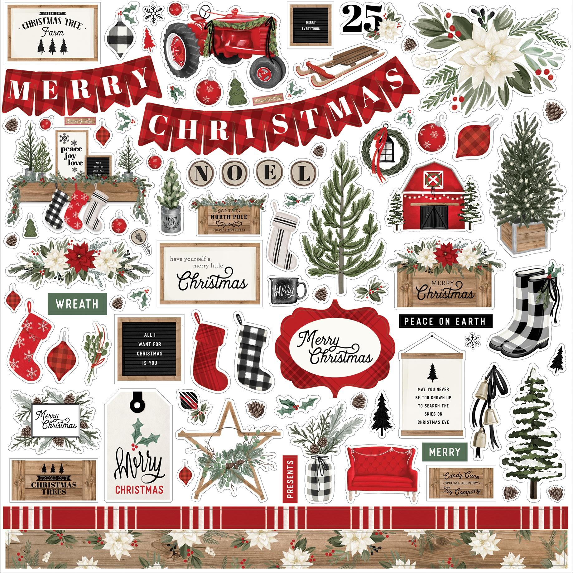 Carta Bella Farmhouse Christmas - 12x12 Element Stickers