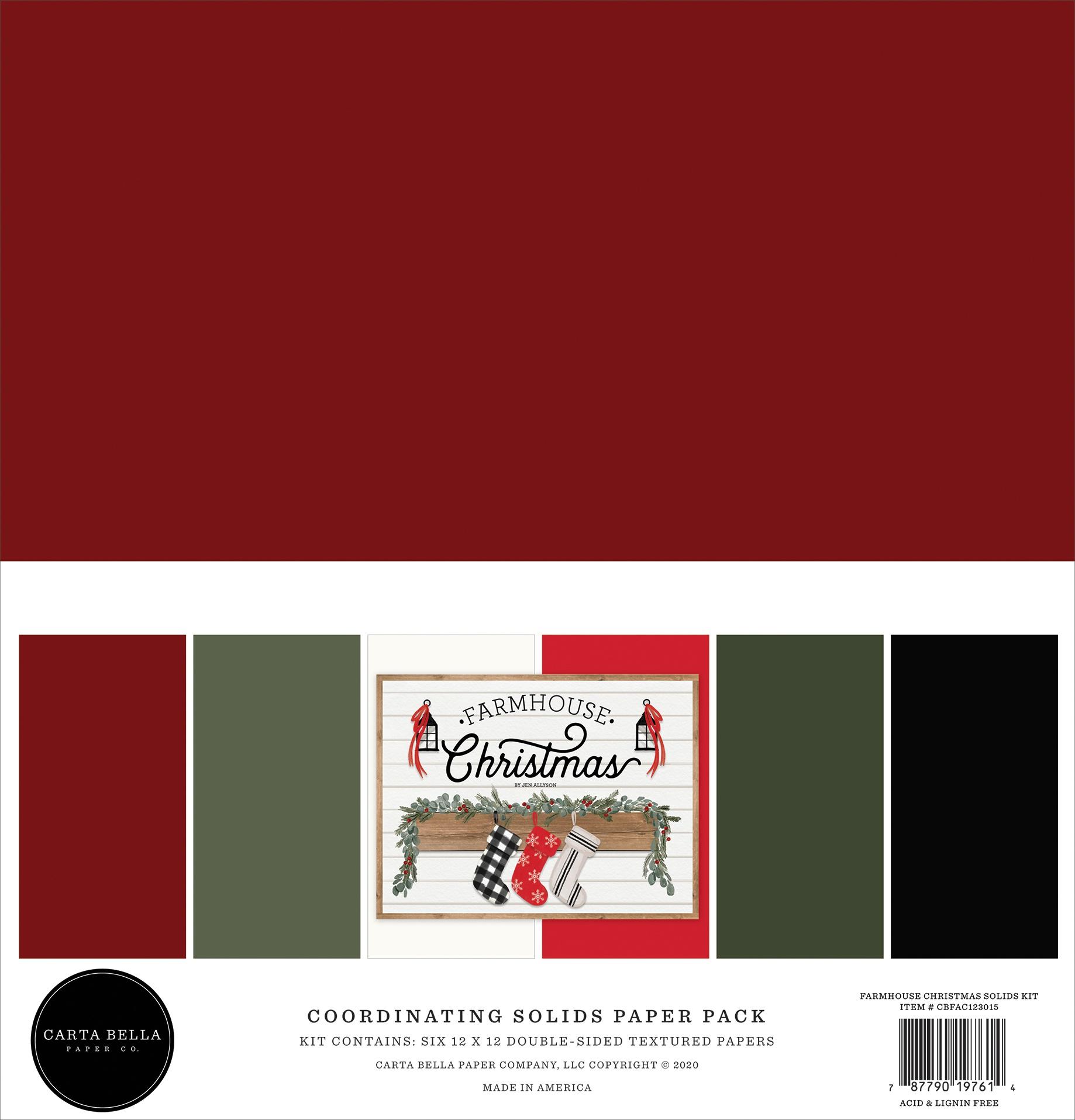 Carta Bella Double-Sided Solid Cardstock 12X12 6/Pkg-Farmhouse Christmas, 6 Co...