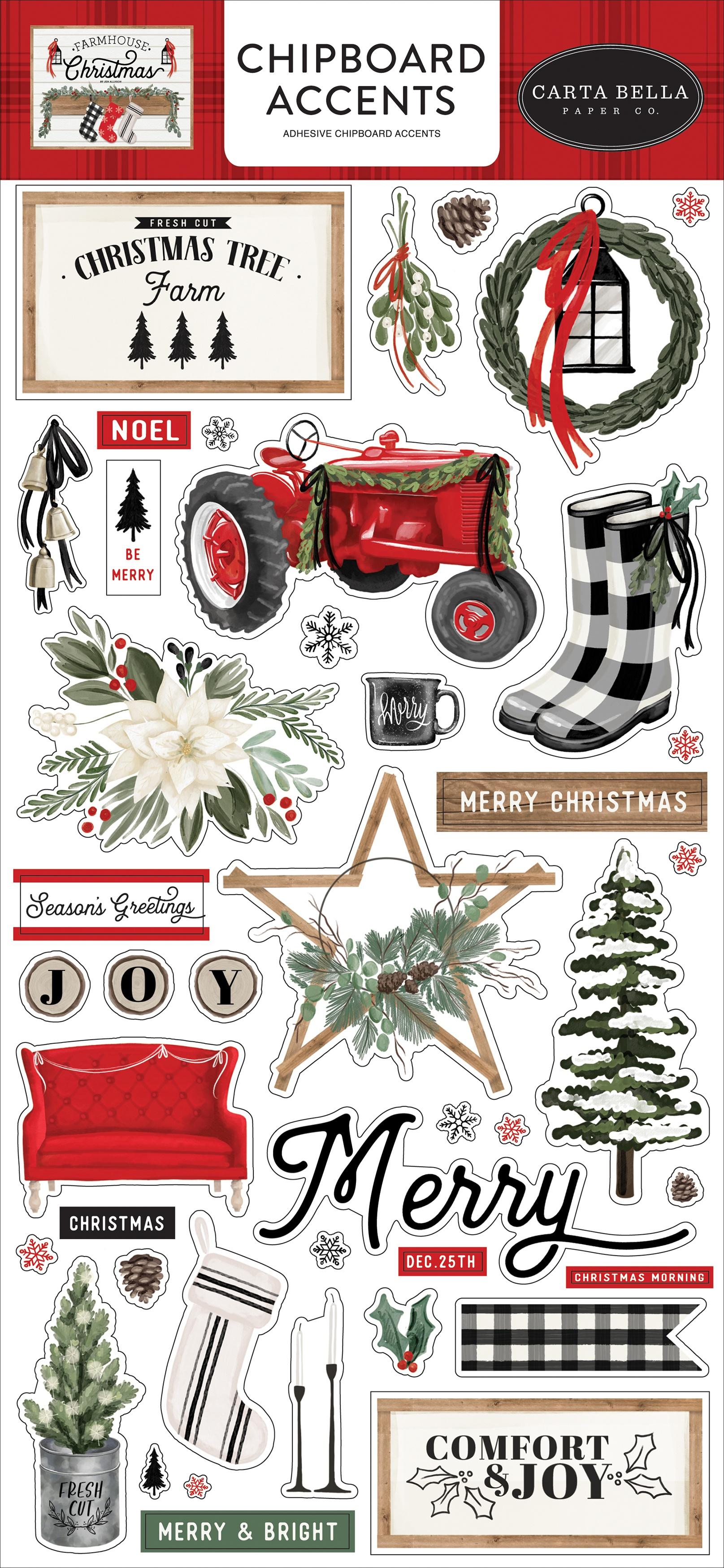 Farmhouse Christmas Chipboard 6X13-Accents, Farmhouse Christmas