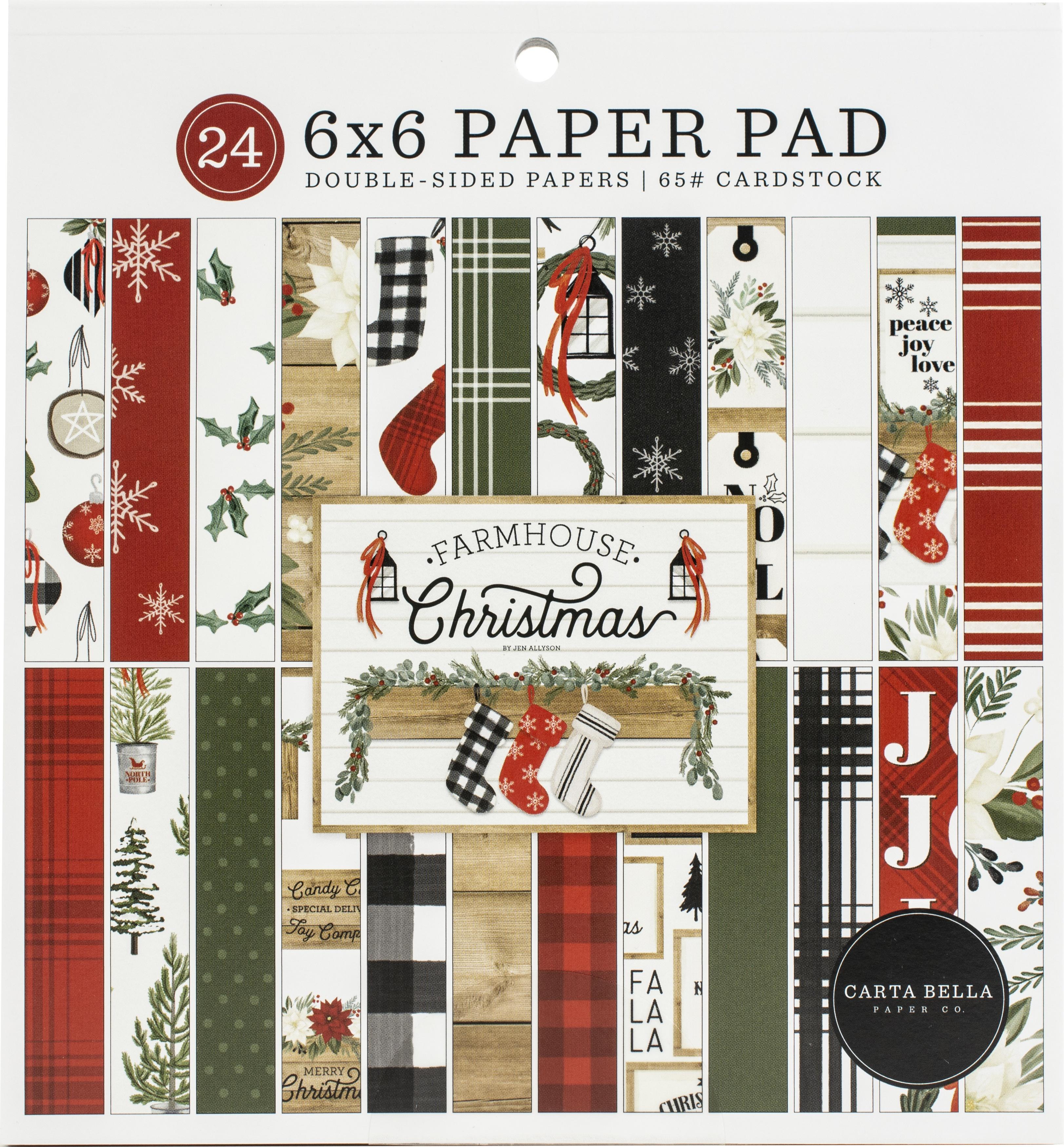 Carta Bella Double-Sided Paper Pad 6X6 24/Pkg-Farmhouse Christmas, 12 Designs/...