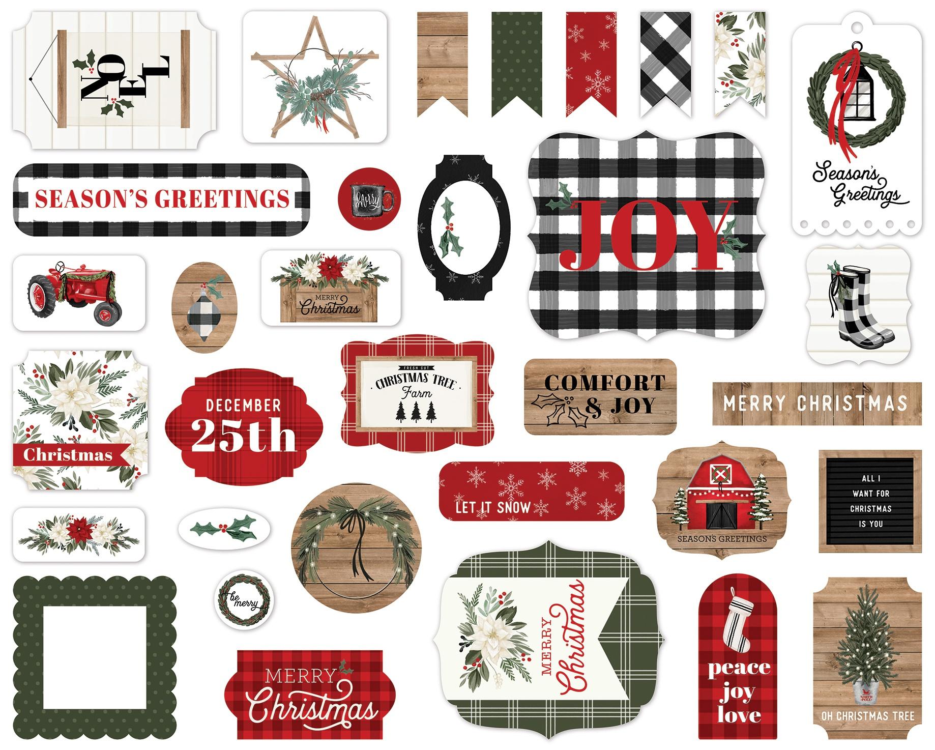Carta Bella Farmhouse Christmas - Ephemera Die Cut Cardstock Pieces
