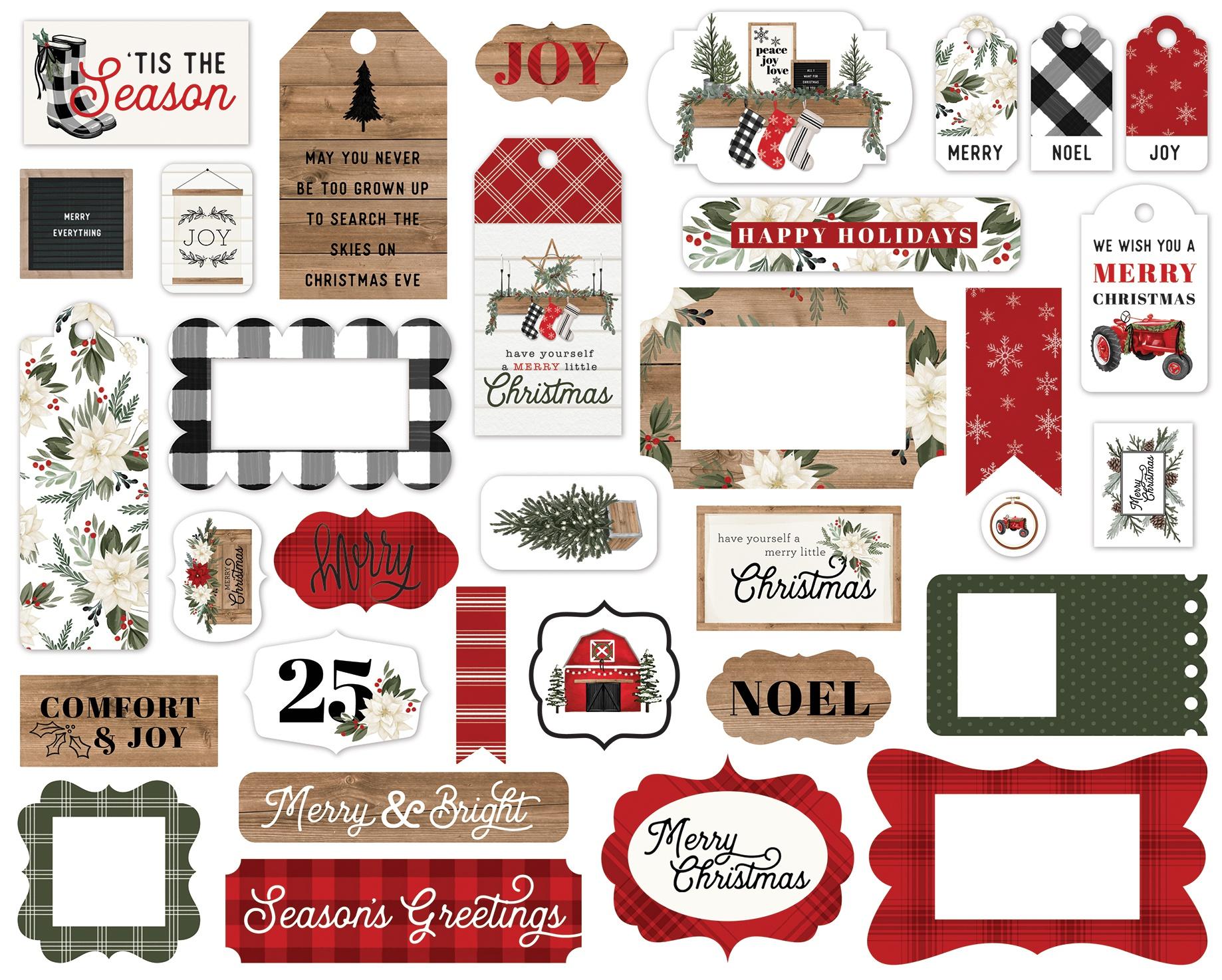 Carta Bella Farmhouse Christmas - Frames & Tags Die Cut Ephemera Cardstock Pieces