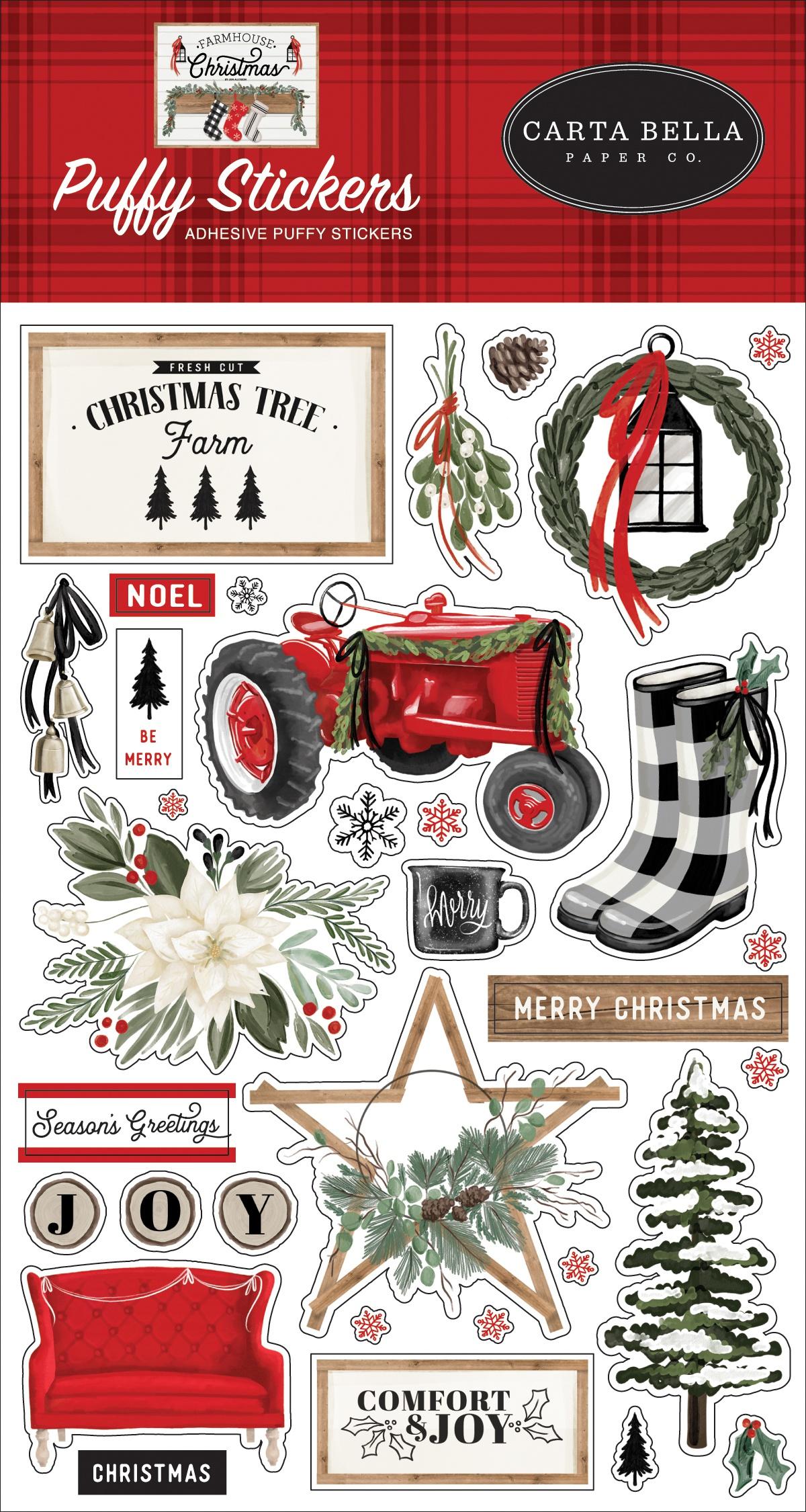 Farmhouse Christmas Puffy Stickers-