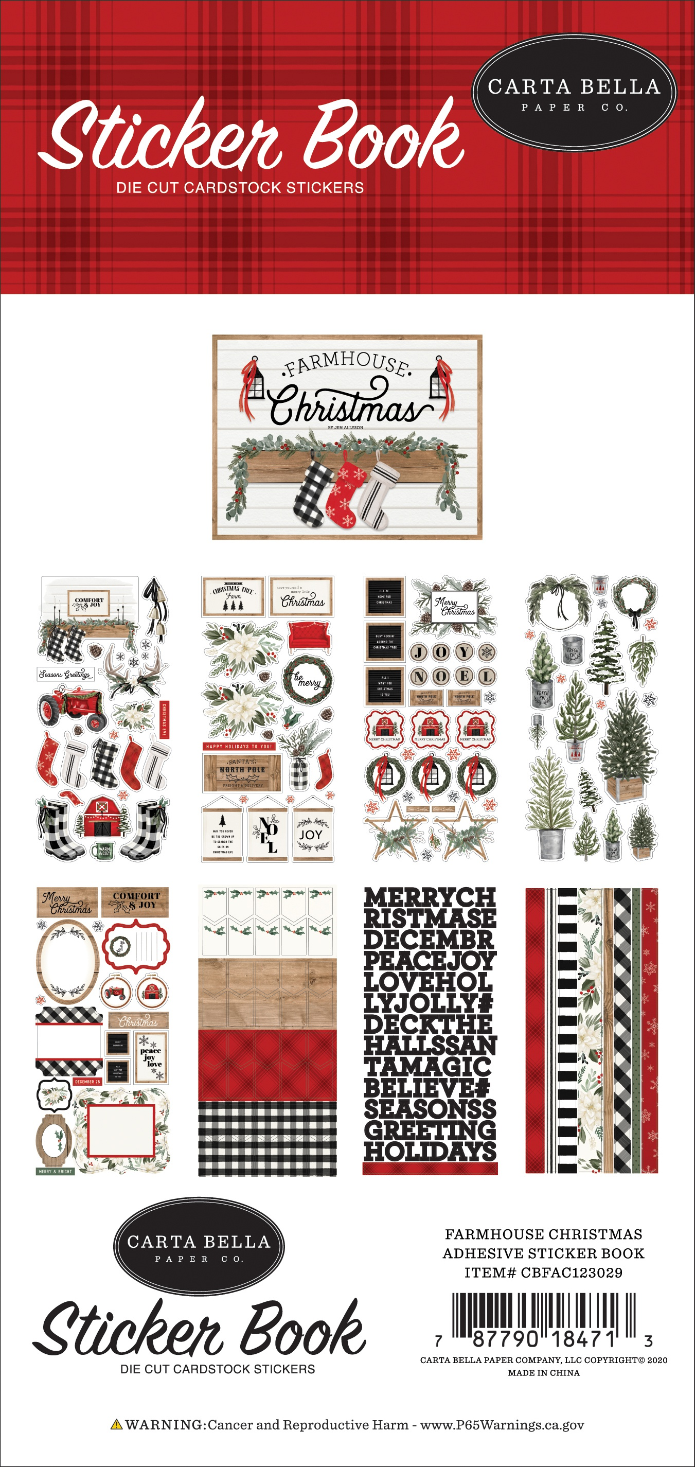 Carta Bella Sticker Book-Farmhouse Christmas