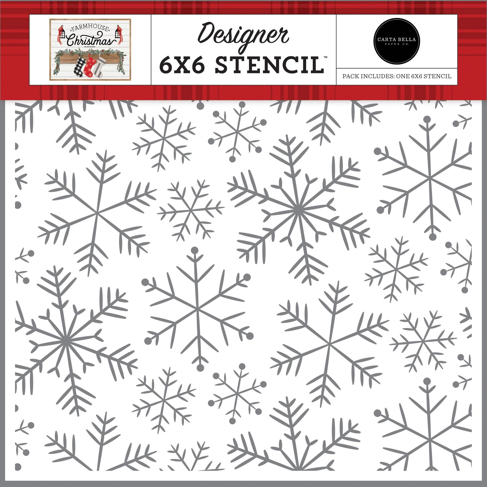 Carta Bella Stencil 6X6-Merry Snowflakes, Farmhouse Christmas