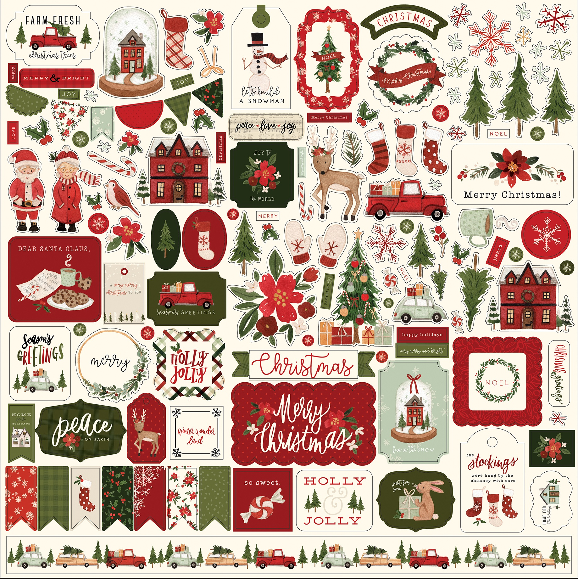Hello Christmas Cardstock Stickers 12X12-Elements