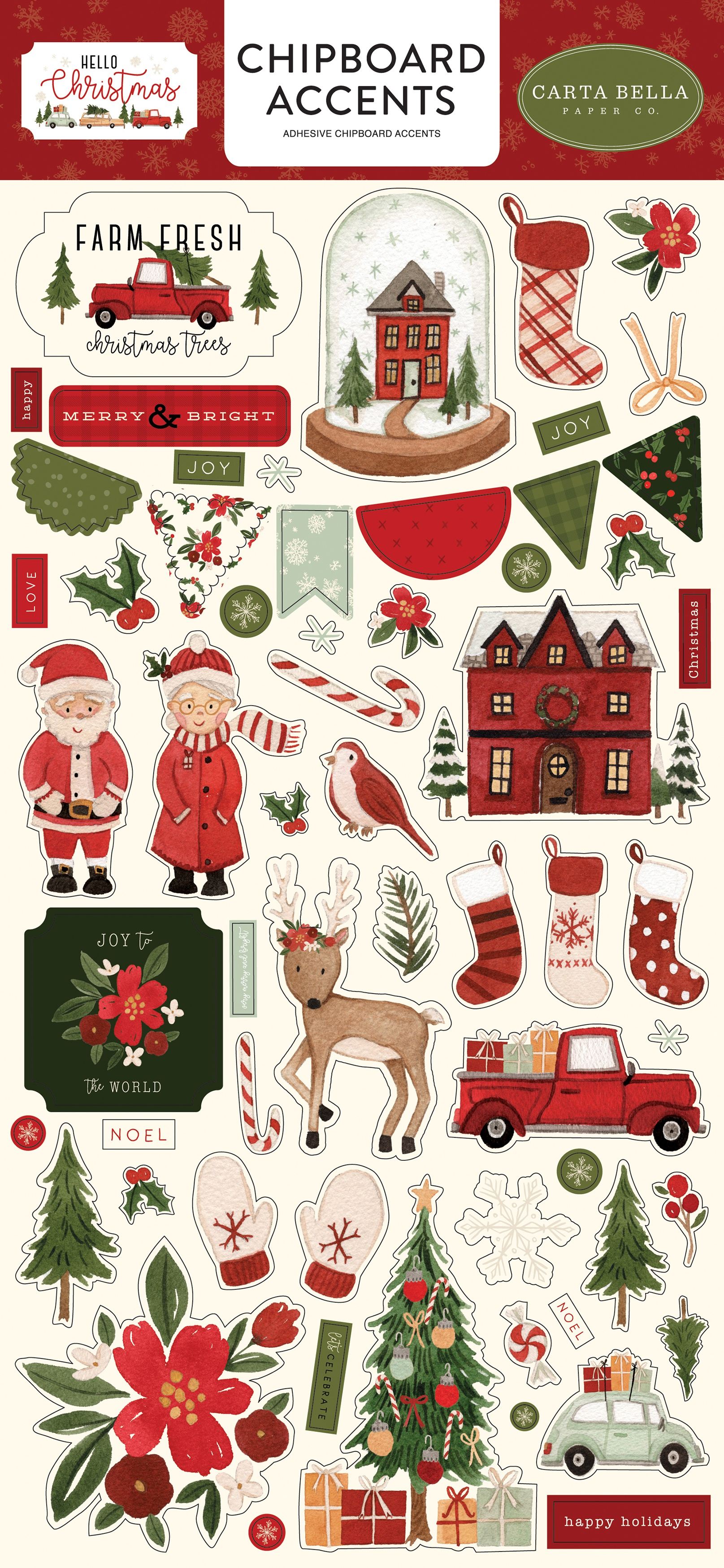 Hello Christmas Chipboard 6X13-Accents, Hello Christmas