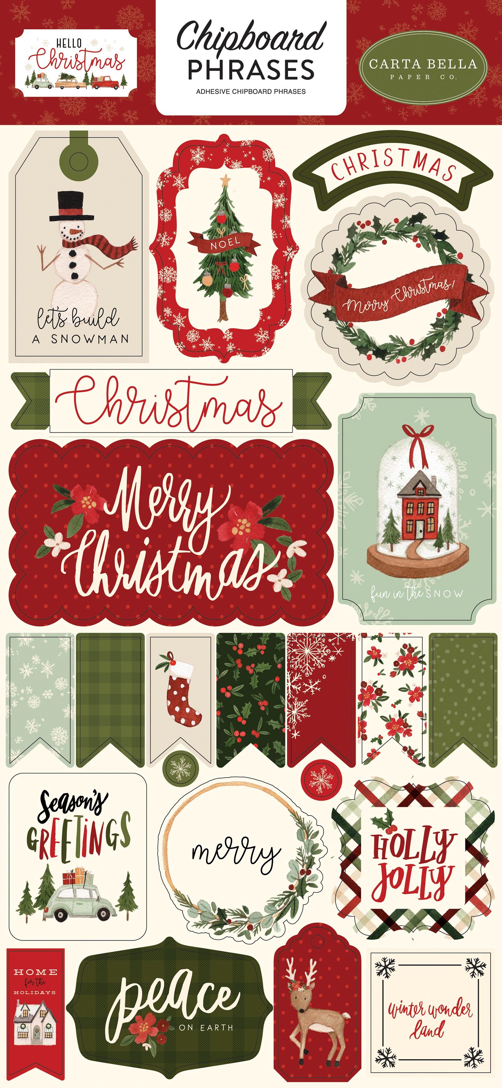 Hello Christmas Chipboard 6X13-Phrases, Hello Christmas