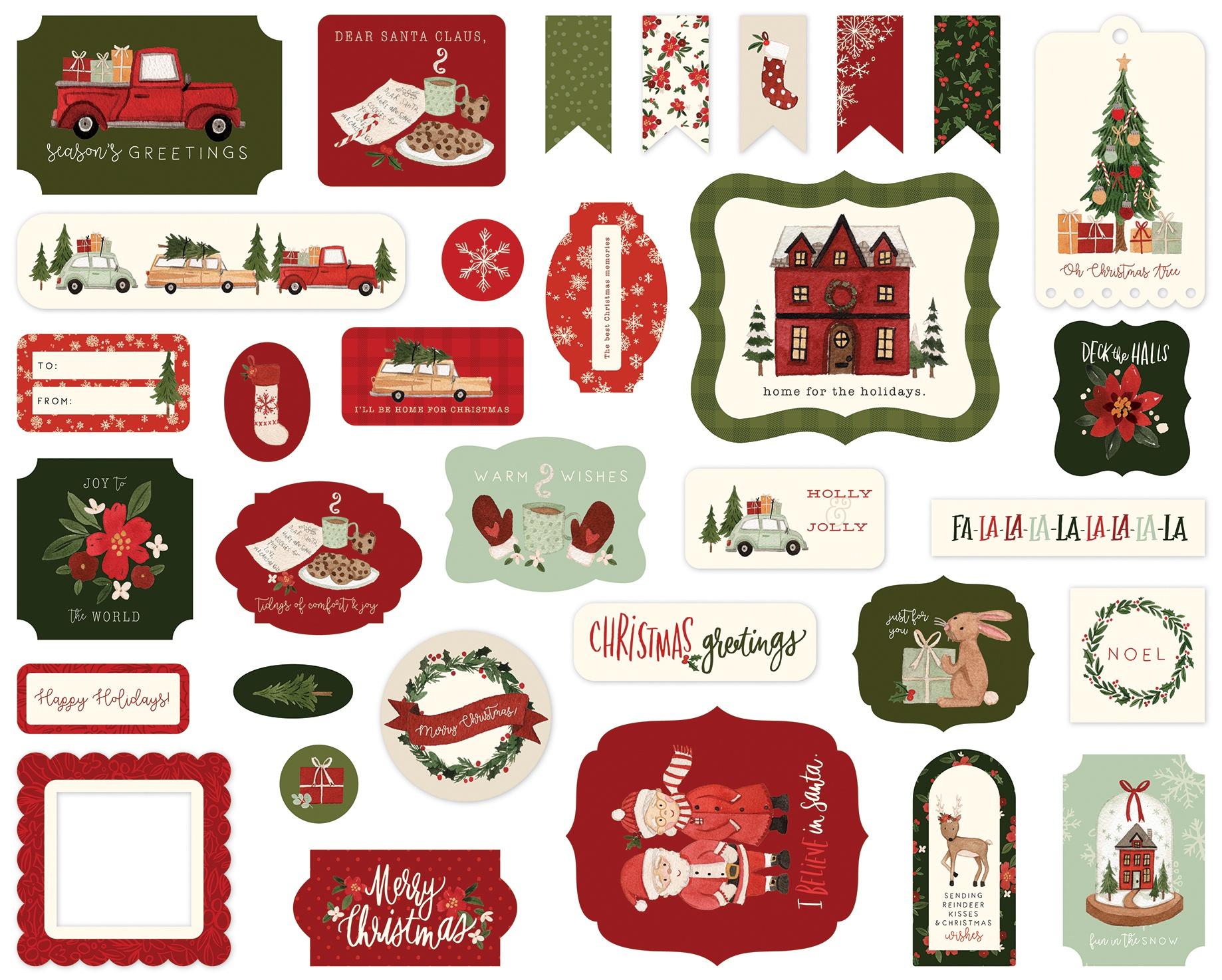 Carta Bella Cardstock Ephemera 33/Pkg-Icons, Hello Christmas