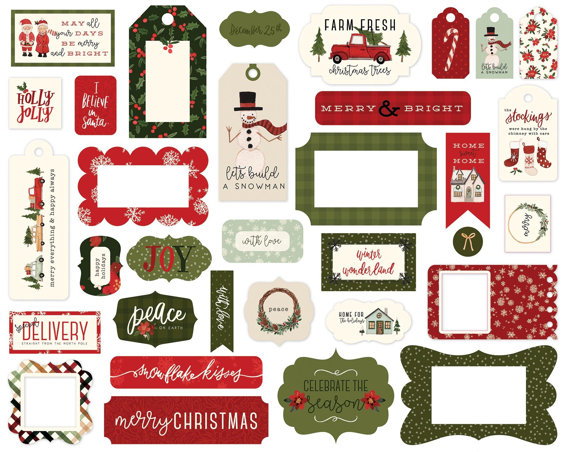 Carta Bella Cardstock Ephemera 33/Pkg-Frames & Tags, Hello Christmas