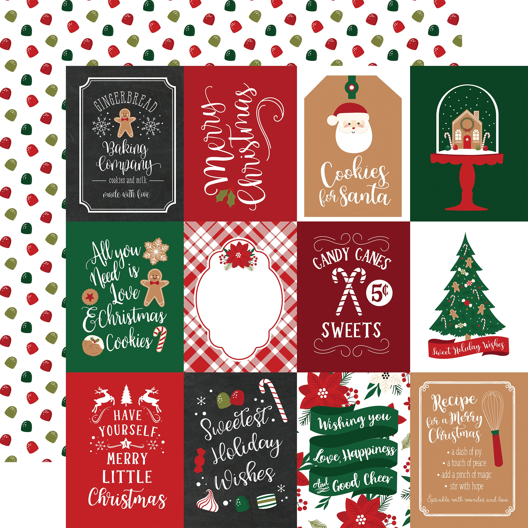 A Gingerbread Christmas Cardstock 12X12- All Styles