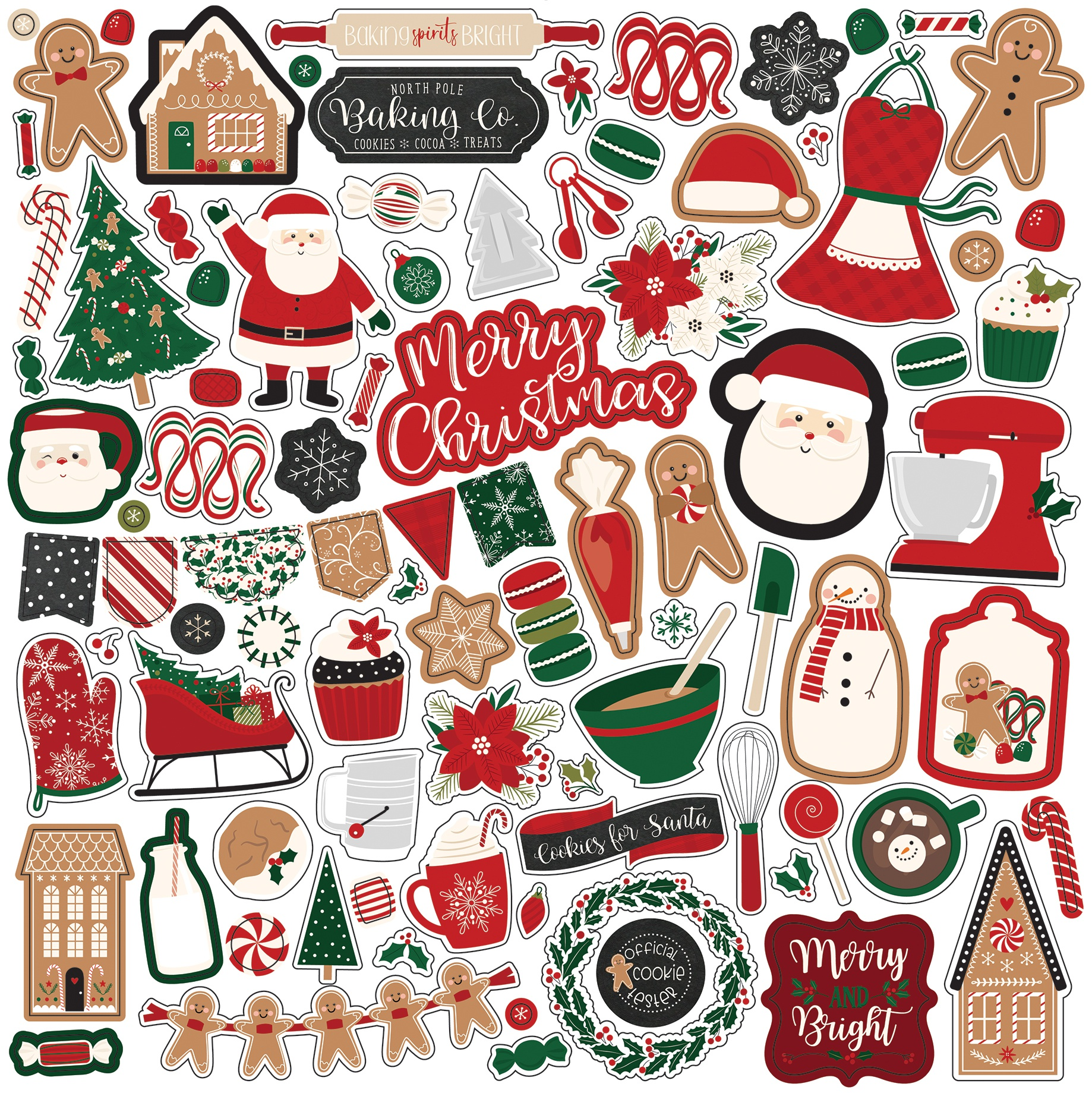 A Gingerbread Christmas Cardstock Stickers 12X12-Elements