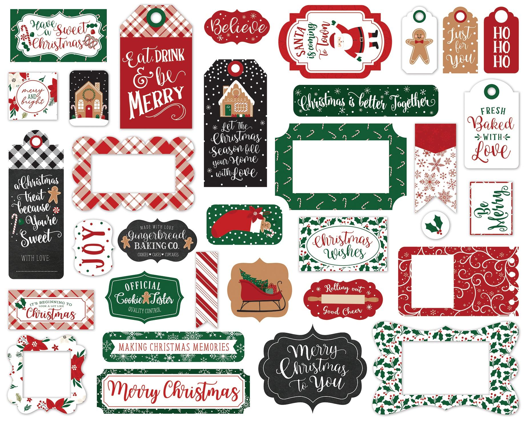 Echo Park Cardstock Ephemera 33/Pkg-Frames & Tags, A Gingerbread Christmas