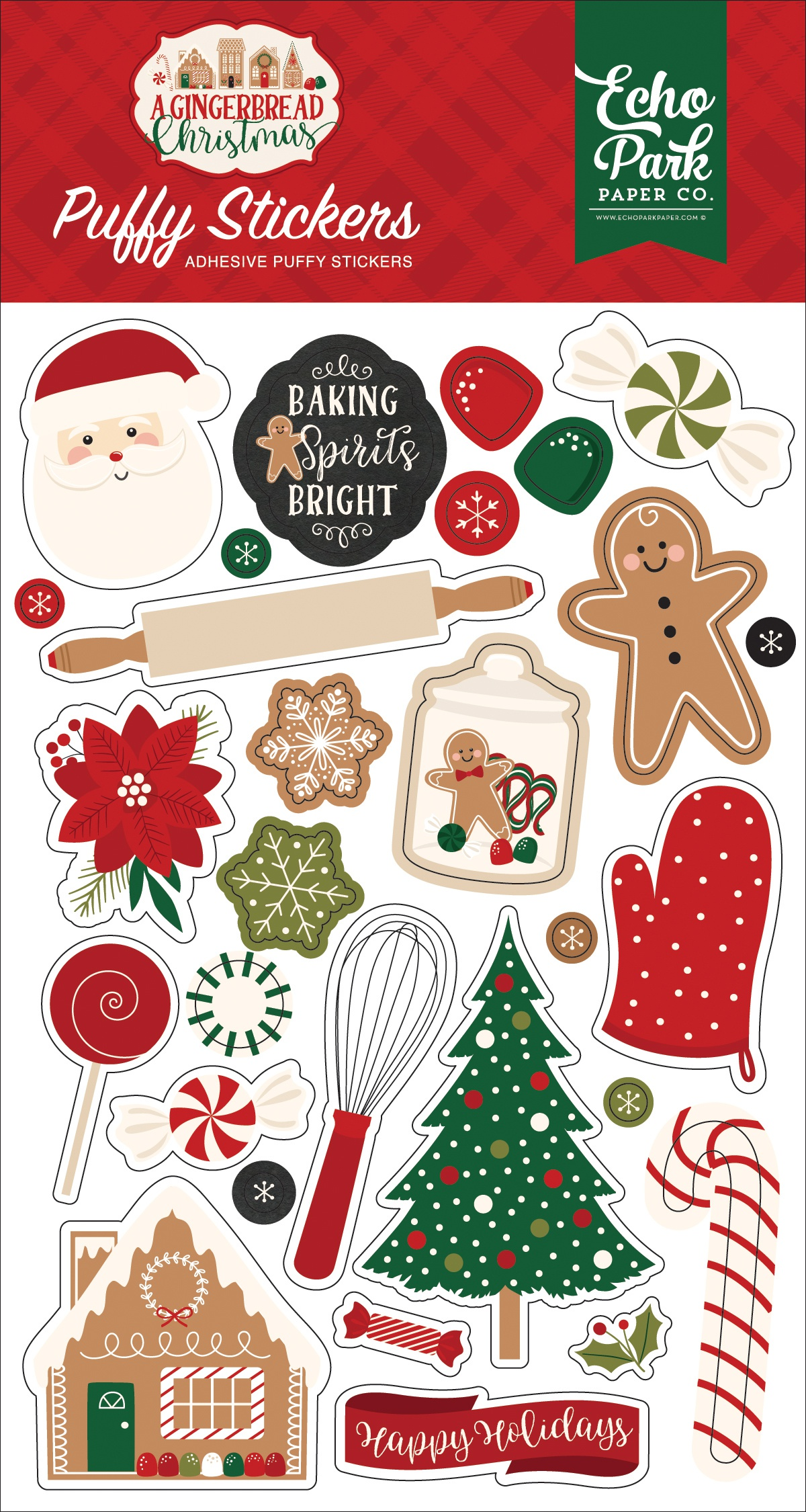A Gingerbread Christmas Puffy Stickers-