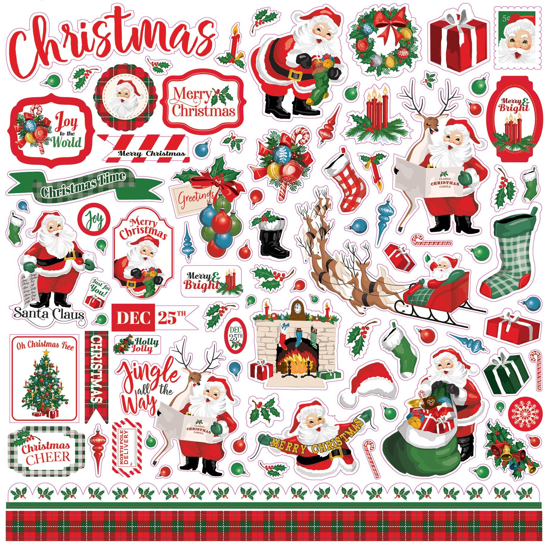 Carta Bella Dear Santa Cardstock Stickers- Elements