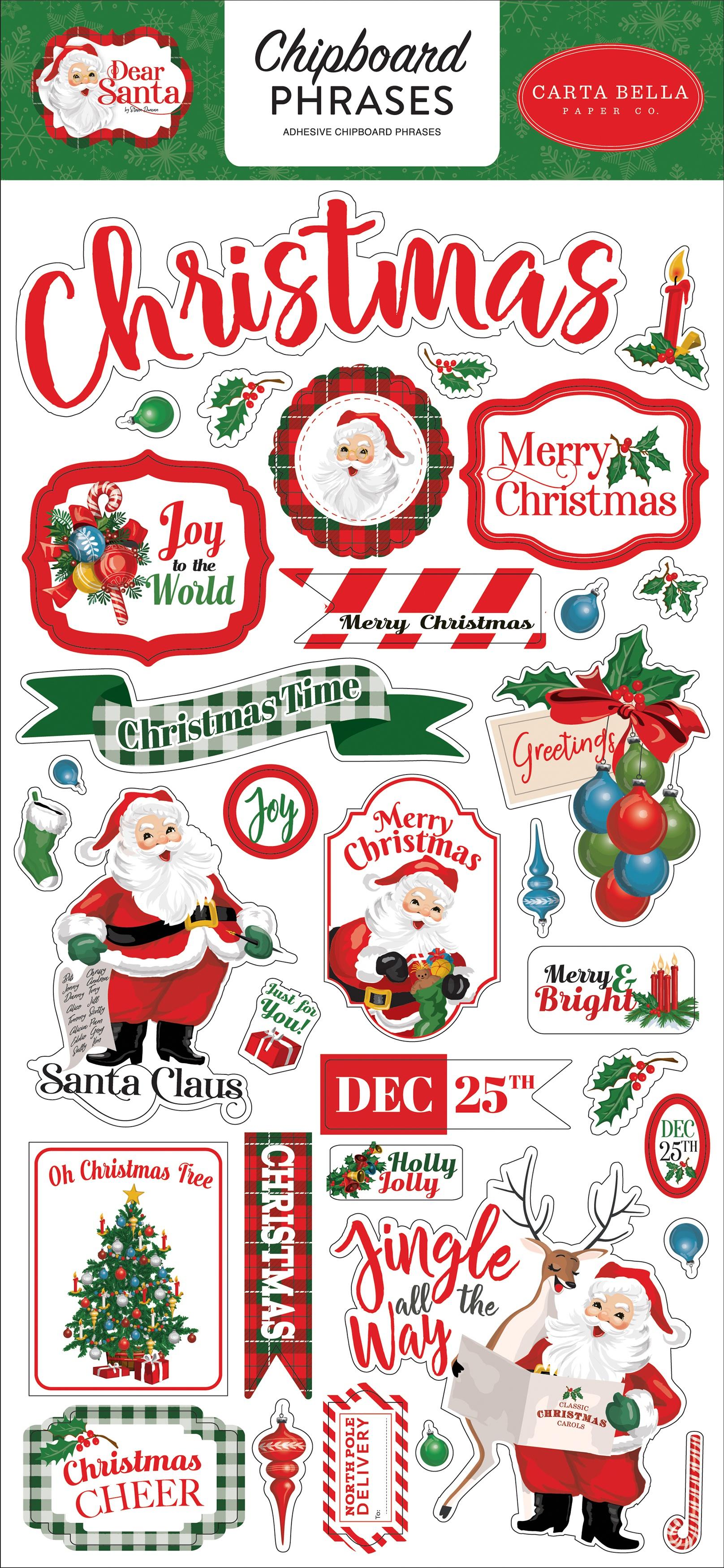 Dear Santa Chipboard 6X13-Phrases