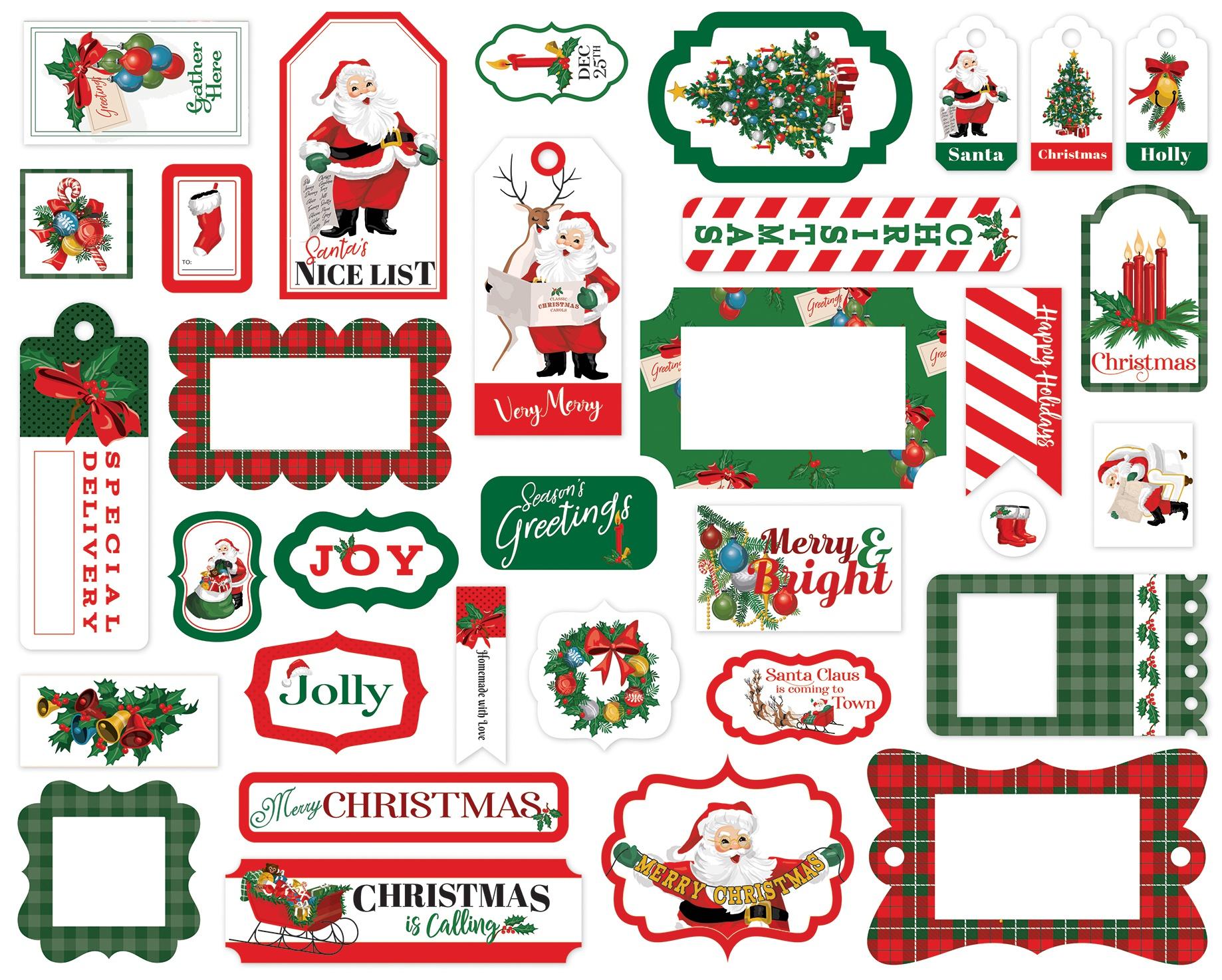 Carta Bella Cardstock Ephemera 33/Pkg-Frames & Tags, Dear Santa