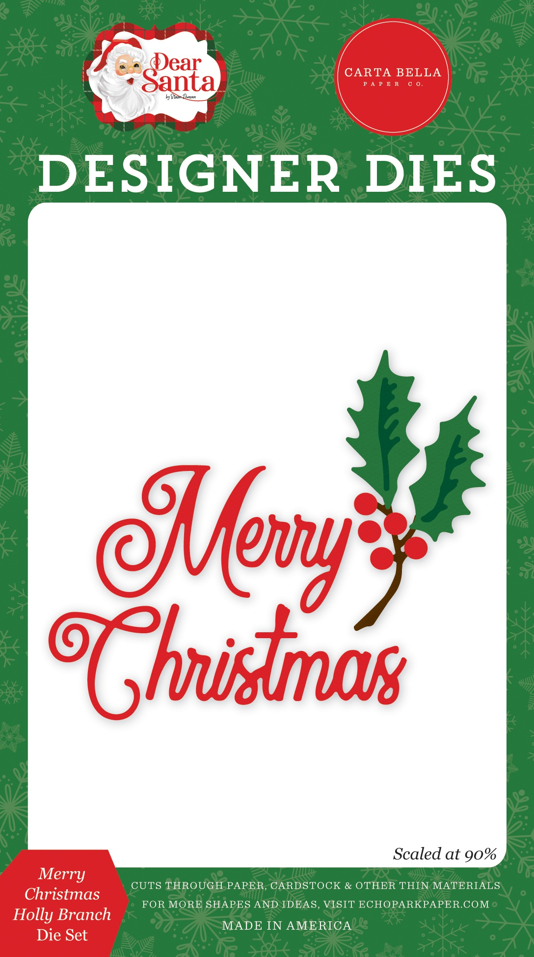 Carte Bella Dear Santa Dies- Merry Christmas Holly Branch