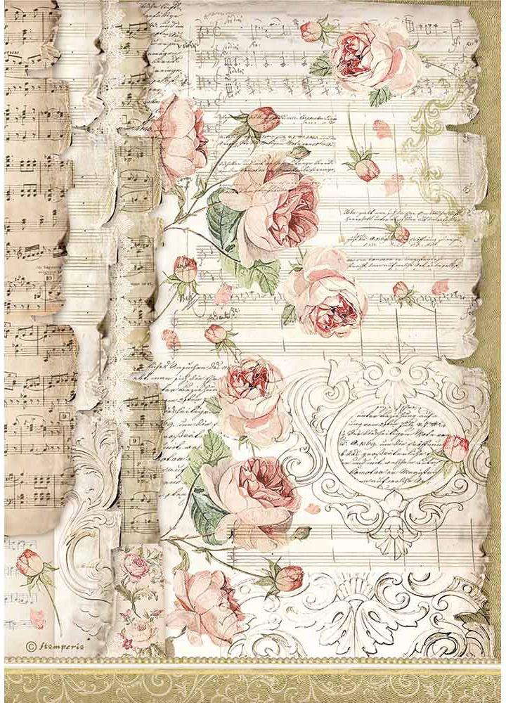 Stamperia Rice Paper Sheet A4-Roses & Music, Princess