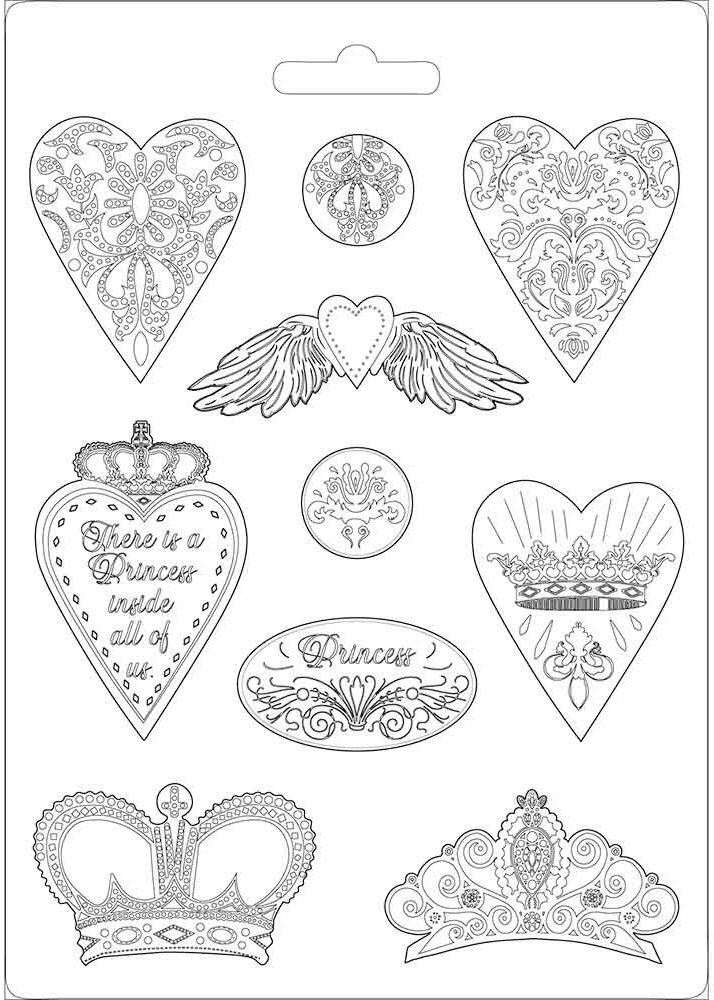 Stamperia Soft Maxi Mould 8.5X11.5-Heart & Crowns, Princess