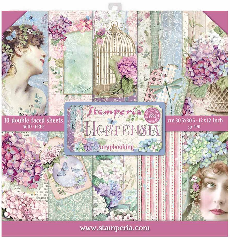 Stamperia Double-Sided Paper Pad 12X12 10/Pkg-Hortensia, 10 Designs/1 Each